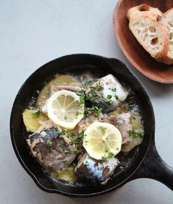 鯖とじゃがいものオイル煮